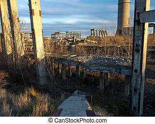 Industrial ruins at sunset