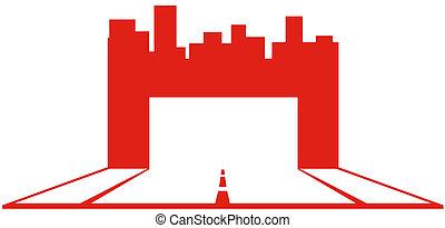 industrial, símbolo, con, rascacielos