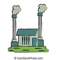 industrial, símbolo, fábrica, buiding, dibujado, contaminación