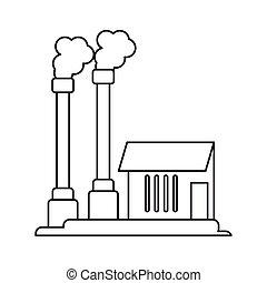 industrial, símbolo, fábrica, buiding, pictografía, contaminación