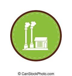 industrial, símbolo, fábrica, buiding, verde, círculo, contaminación