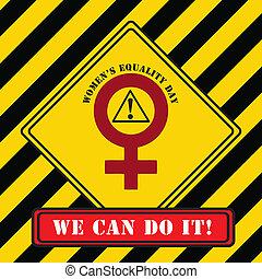 industrial, símbolo, mulheres, igualdade, dia