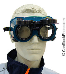Industrial safety glasses on a dummy isolated on white