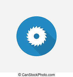 industrial saw Flat Blue Simple Icon with long shadow, ...