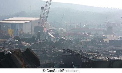 Industrial scrapyard next to Izmir port