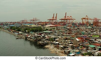 industrial sea port with containers, Manila, Philippines. -...