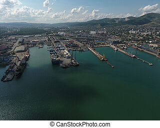 Industrial seaport, top view. Port cranes and cargo ships ...