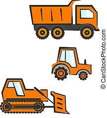industrial, set., trator, dozer, dumper, transporte