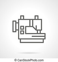 Industrial sewing machines black line vector icon
