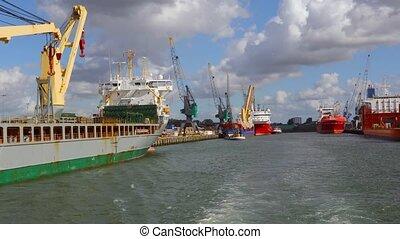 Industrial ships in dock - Crane vessels in the port of...