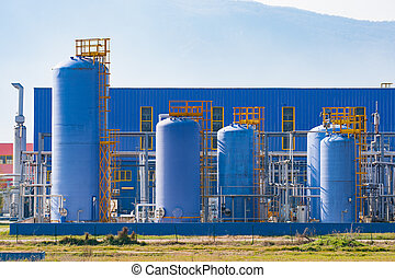 Industrial silos of a modern factory.