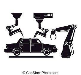 industrial, silueta, producción del coche, robótico, planta...