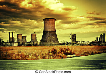 Industrial site and cloudy landscape - Industrial site and...