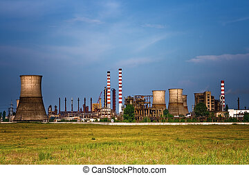 Industrial site - landscape of oil refinery - Landscape of...
