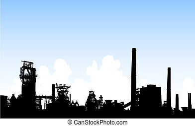 Detailed editable vector illustration of an industrial skyline