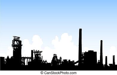 Industrial skyline - Detailed editable vector illustration...