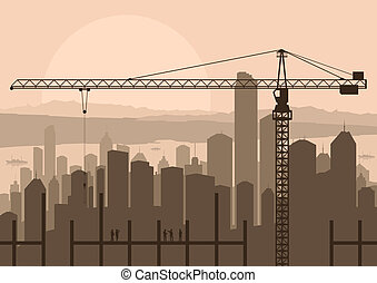 Industrial skyscraper city and construction site crane with building engineers in landscape skyline background illustration vector