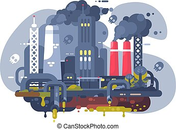 Industrial smoke clouds on city landscape