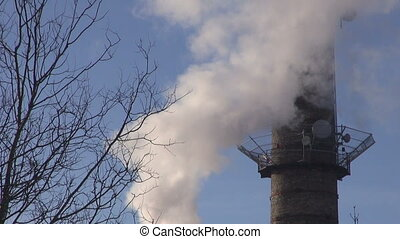 industrial Smokestack Pollut - winter industrial Smokestack...