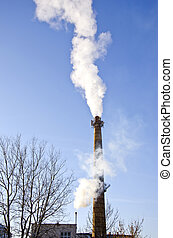 industrial smokestack smoke on sky background