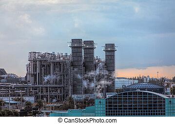 Industrial Smokestacks in Port