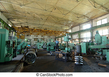 Industrial space - interior of an industrial building with...