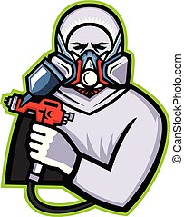 Industrial Spray Painter Mascot - Mascot icon illustration...