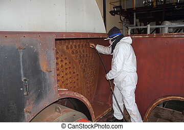 Industrial Steam Boiler Clean - personal, ppe , steam, ...