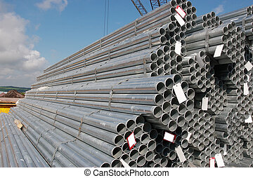 industrial steel pipes - steel pipes on a dock in youghal...