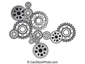 industrial still life - arrangement of gears, isolated on ...