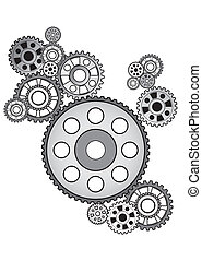 industrial still life - arrangement of gears, isolated on...