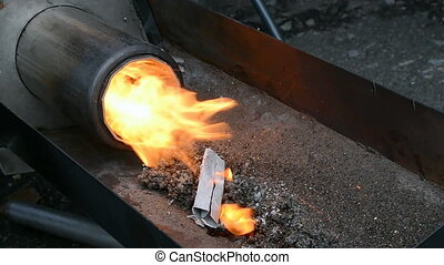stove with gas methane fire heater closeup, energy - ...
