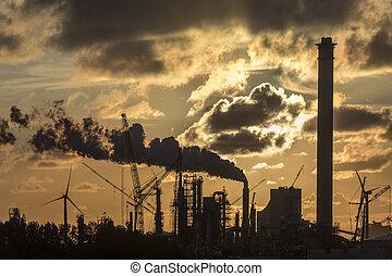 Industrial Sunset - Rotterdam - Holland - An industrial...