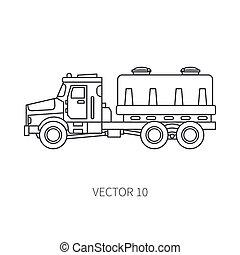 industrial, tank., desenho, style., edifício., carga, engineering., diesel, delivery., apartamento, power., comercial, business., ilustração, construção, linha, ícone, vetorial, caminhão, maquinaria, incorporado, transportation.
