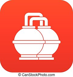 Industrial tanks for petrol and oil icon digital red