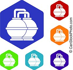 Industrial tanks for petrol and oil icons set