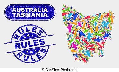 Industrial Tasmania Island Map and Grunge Rules Watermarks