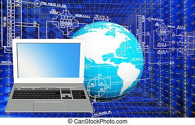 industrial, tecnología computadora