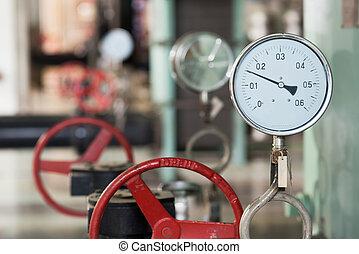industrial, termómetro, habitación, caldera