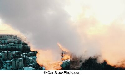 Industrial theme - deep smoke coming out of a manufacturing ...