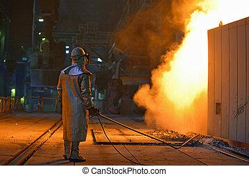 industrial, trabajador de acero