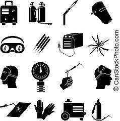 industrial, trabajo, conjunto, soldadura, iconos