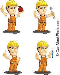 industrial, trabalhador construção, cust