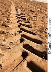 industrial tractor footprint on beach sand - industrial...