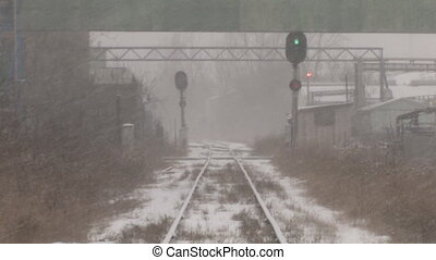 Industrial train tracks. 2 shots.