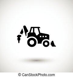 industrial, trator, ícone