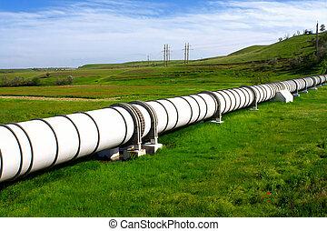 industrial, tubo, con, gas, y, aceite