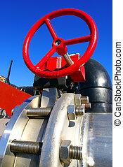 industrial, válvula, contra, céu azul