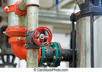 industrial, válvula, em, petrochemical, fábrica