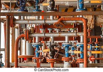 industrial, válvula, en, gas, distribución, planta